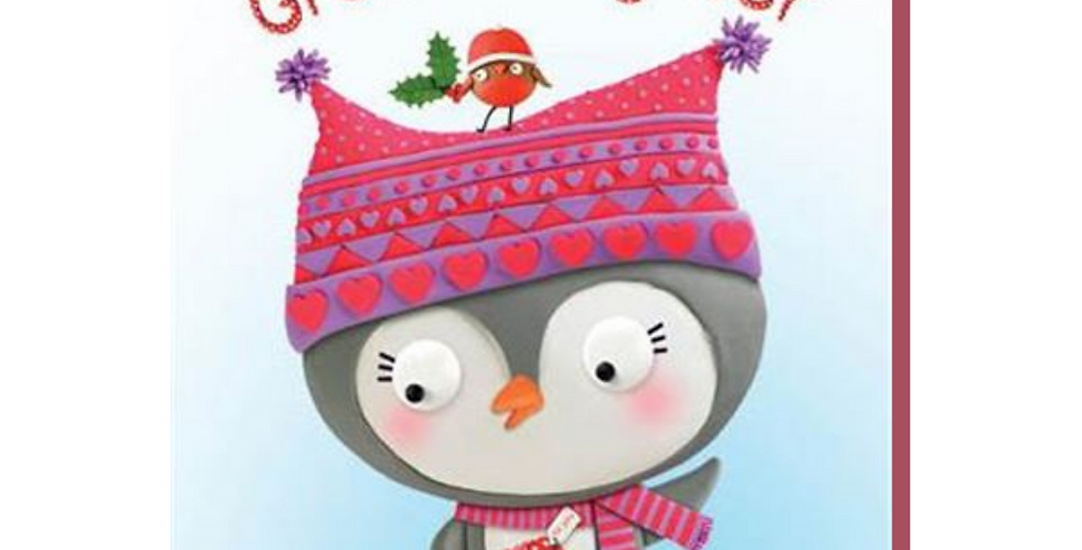 Cartoon penguin with robin with words to a special great grandaughter with love at christmas