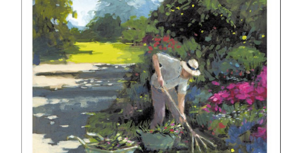 Father's Day card with watercolour picture of man gardening