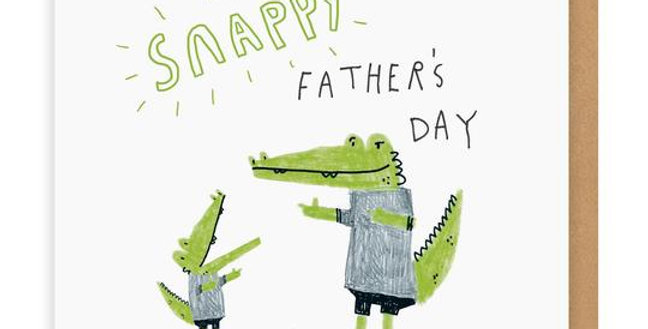 Father's Day card with alligator father and son pic with words Snappy Father's day