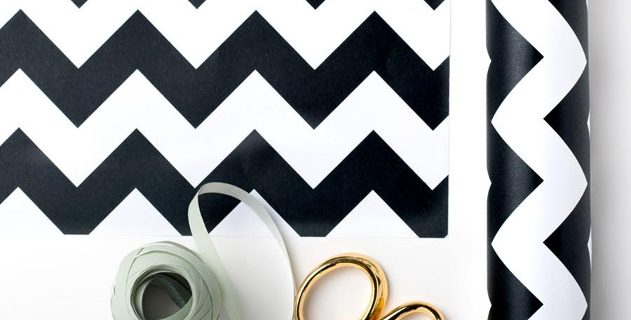 stylish chevron style wrapping paper in black and white