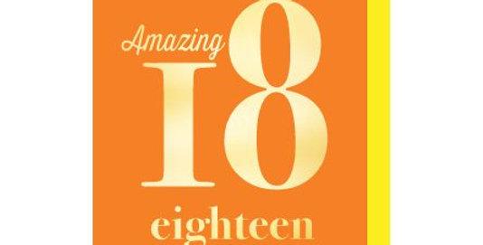 18th Birthday card, orange background with gold writing saying Amazing 18