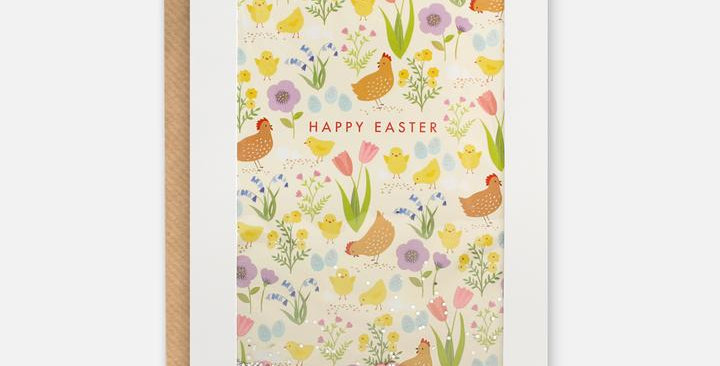 Easter card with pretty easter flowers and hen pattern