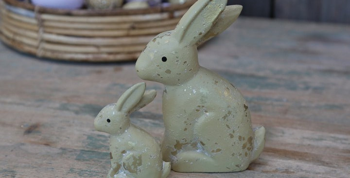 Pale yellow ceramic hare, cute Easter decoration
