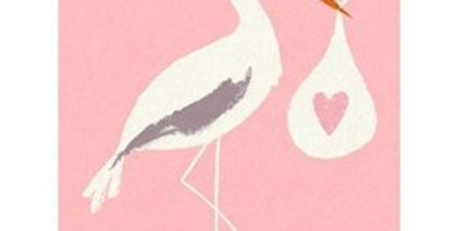New baby card with pink background and stork holding a white bundle and pink heart