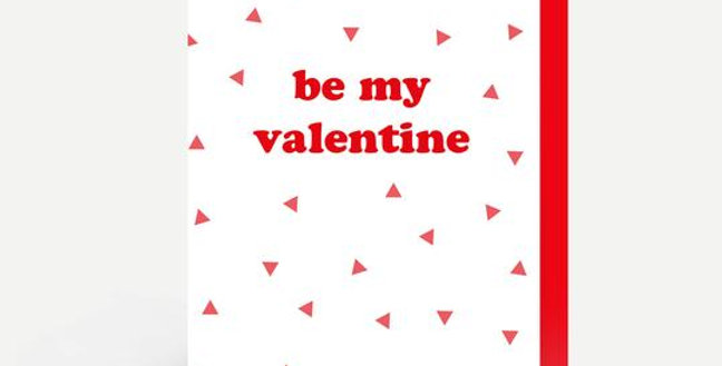 valentines day card white background with a mini red heart pattern and red word be my valentine