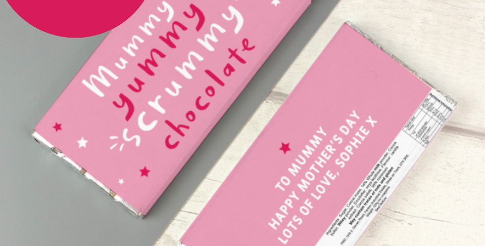 Personalised Yummy Scrummy Mummy Milk Chocolate Bar