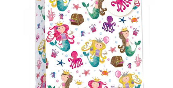 Kids gift bag with cute mermaid character, treasure chests, stars, octopus pattern and pink ribbon handles