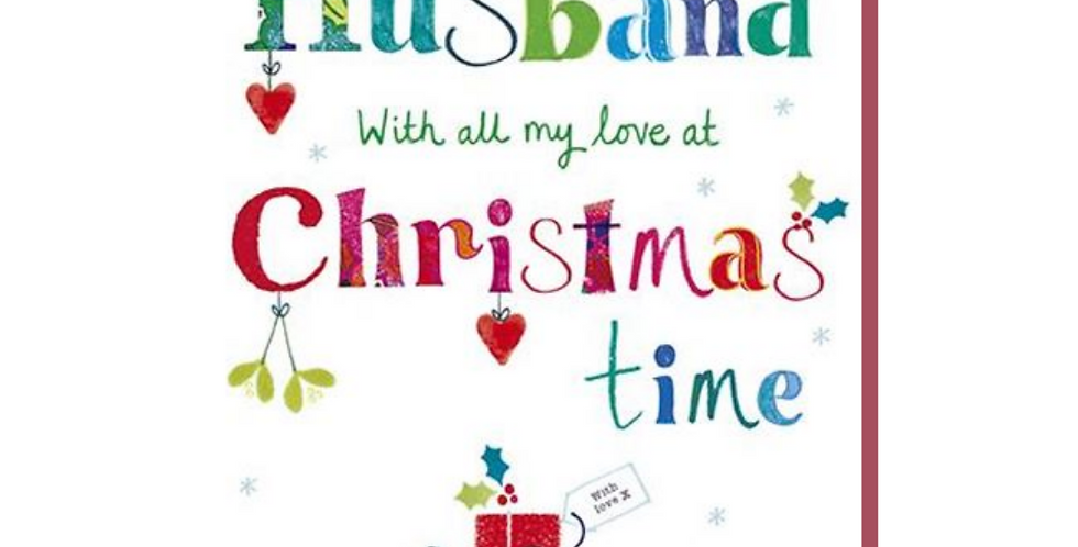 Multicoloured husband christmas card with mistletoe header & pile of gifts saying husband with all my love at christmas time