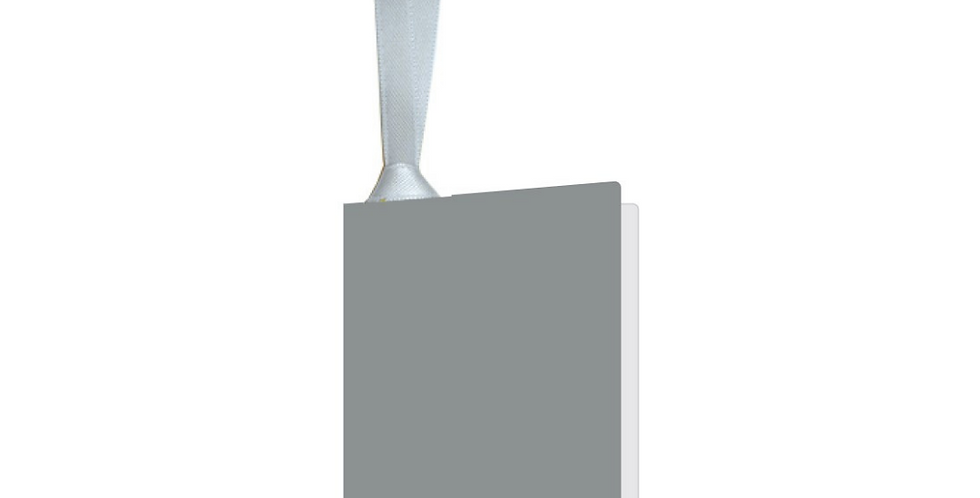 Silver gift tag with silver ribbon