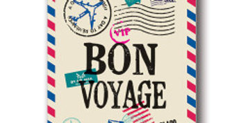 Air mail style leaving card with post stamps and Bon Voyage wording