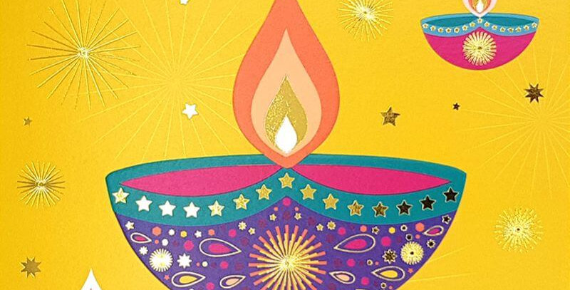 square card saying happy diwali featuring 3 multicoloured lit oil lamps on a yellow background