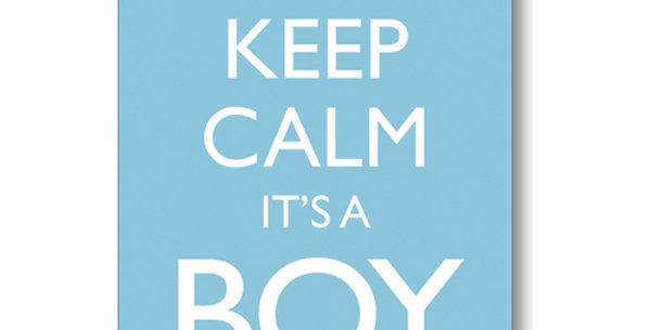 pale blue new baby card with white crown and wording keep calm it's a boy