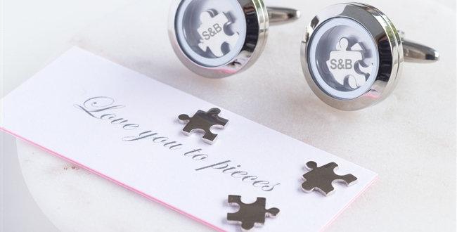 love you to pieces cufflinks featuring jigsaw pieces inside cufflinks