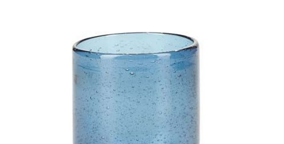Blue Mouthblown Moroccan Recycled Water Glass