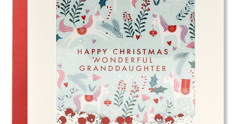 Grandaughter christmas card with holly and berries and confetti that says happy christmas wonderful granddaughter