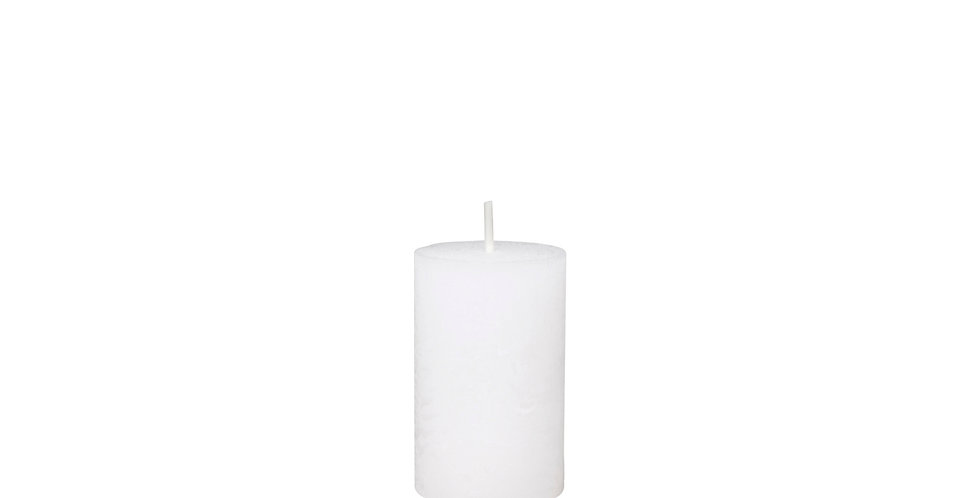 White coloured rustic style candle. 16 hour burn time.