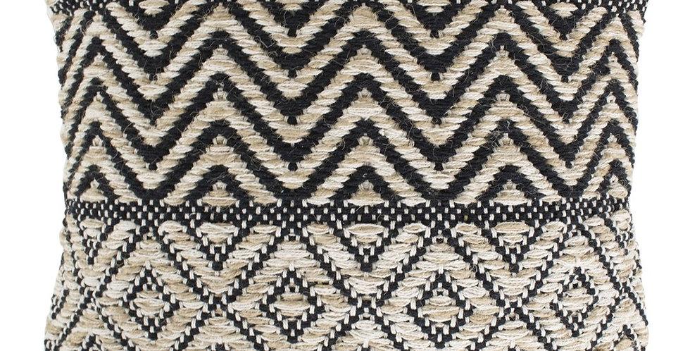 Black Jute & Cotton Zig Zag Cushion featuring zig zag lines and diamond patterning. Cream reverse.