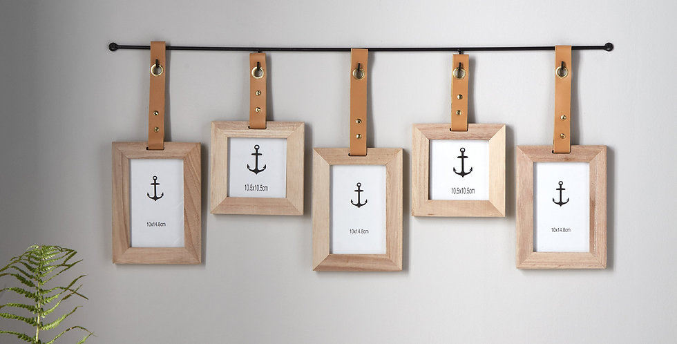 hanging photo frame pole with 5 frames