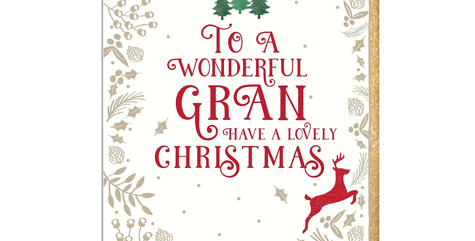 "Christmas card for Gran with gold holly border 3 green christmas trees and words ""To a wonderful Gran have a lovely Christmas"