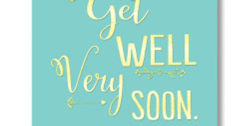 Get well card, mint green with gold writing that says Get Well Very Soon