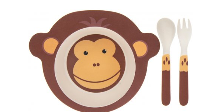 Monkey bamboo toddler eating set which includes a plate and cutlery