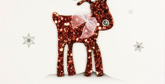 With Love at Christmas Red Glitter Reindeer