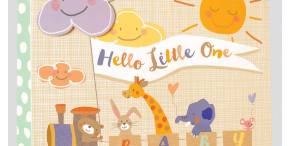 Cute new baby gift bag featuring train carrying animals and message hello little one and baby