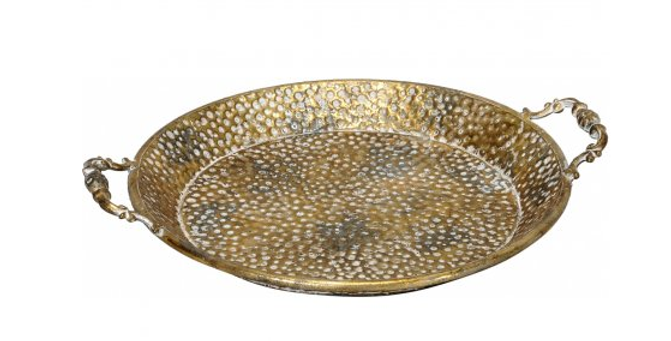 Round Gold Hammered Serving Tray