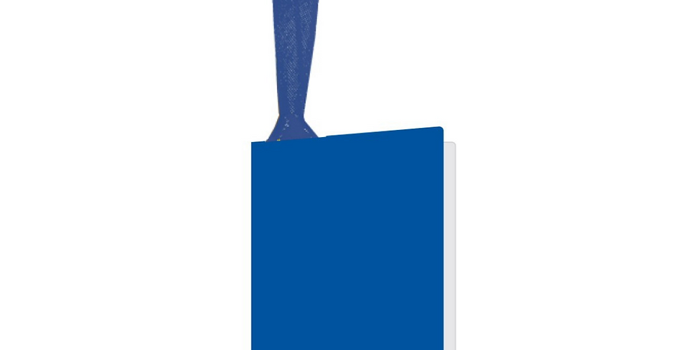 royal blue coloured gift tag with matching ribbon