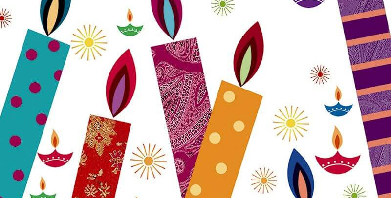 Diwali card. White background with multicoloured candles and wording Enjoy the festival of lights