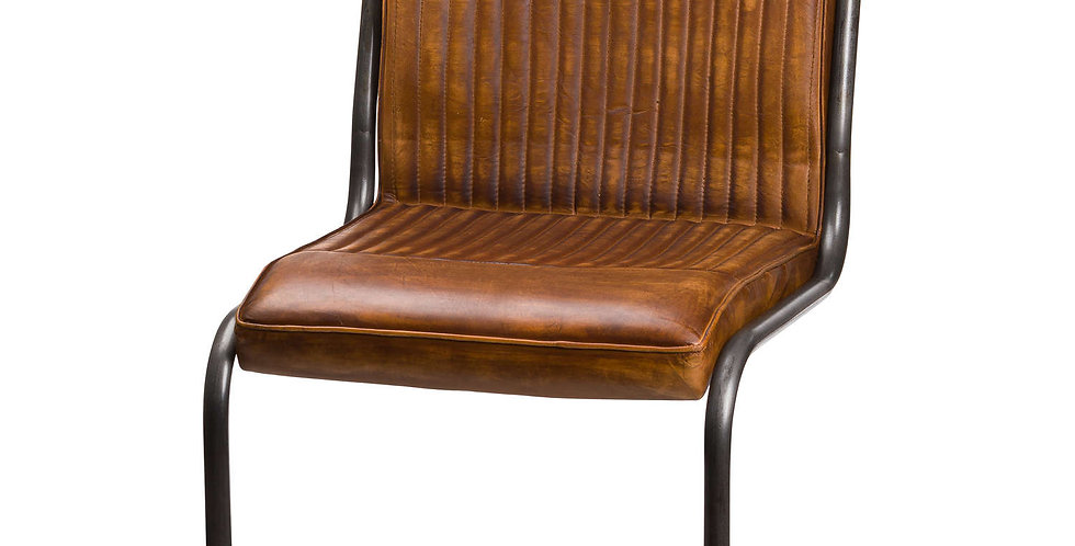 brown leather and black metal framed dining chair