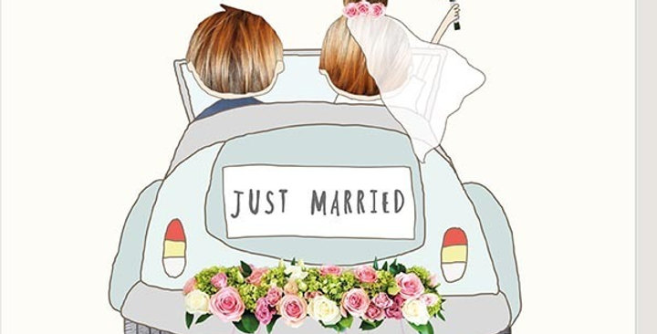 wedding card, rear view of couple driving off from wedding with tins cans on car & words let the adventure begin just married