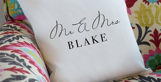 personalised couple cushion natural background dark grey writing