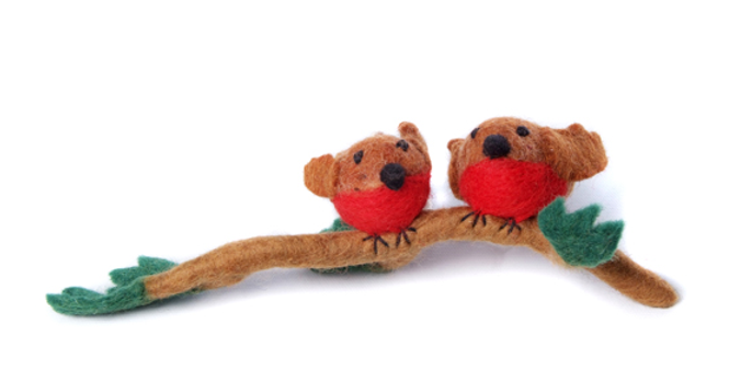 felt two robins on a festive branch christmas tree decoration