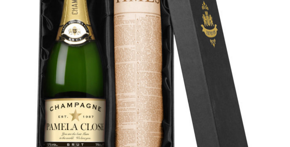 personalised champagne and time newspaper gift