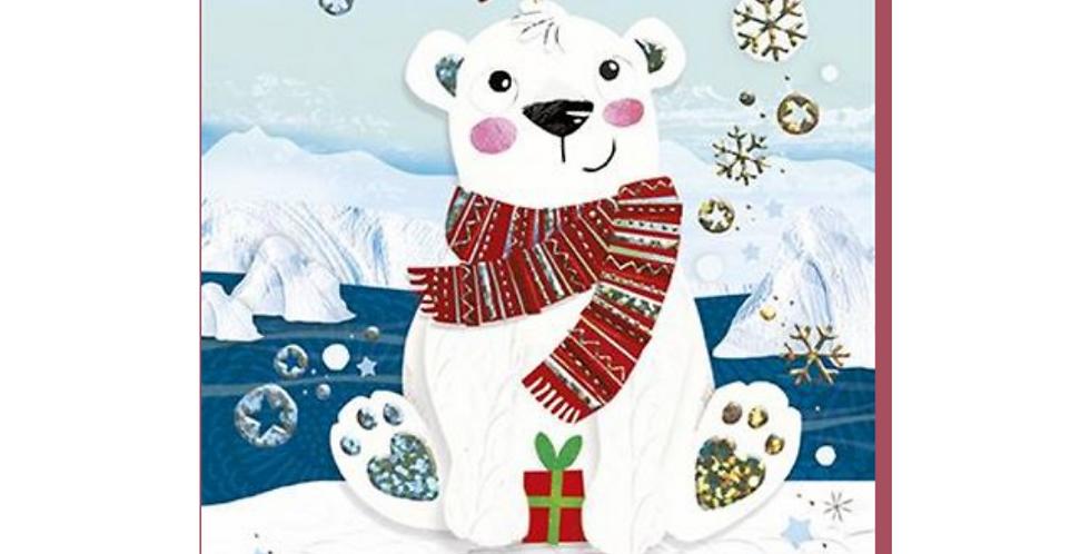 son christmas card featuring cute cartoon polar bear and words to a brilliant son wishing you a very merry christmas
