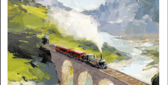 Father's day card featuring watercolour print of steam train crossing an aqueduct and words Happy Father's Day