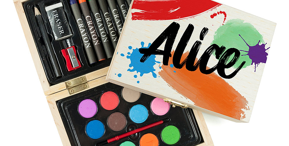 24 Piece Art Set With Paints, Paintbrush, Crayons, Pencil, Eraser and Sharpener in Wooden Box Personalised With Name