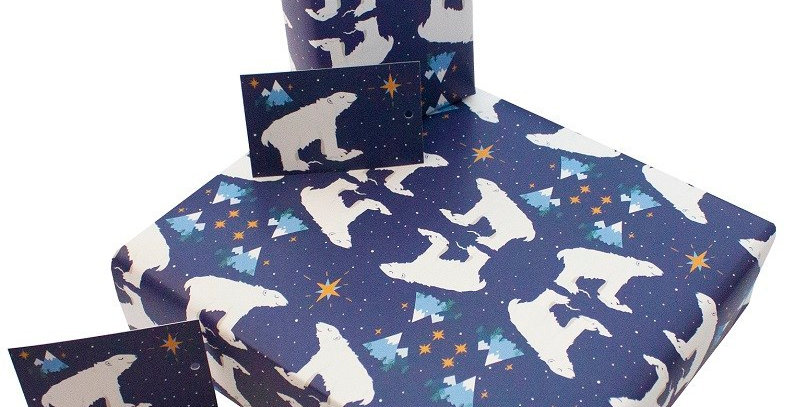 Dark blue starry night background with illustrated polar bear pattern. Matching gift tag available