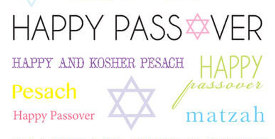 Passover card with various passover related messages in multi colours