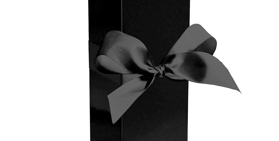 Premium gift bottle box with gorgeous black ribbon bow