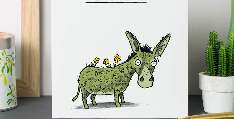 funny thank you card with cartoon ass with grass on backside and wording grassy ass