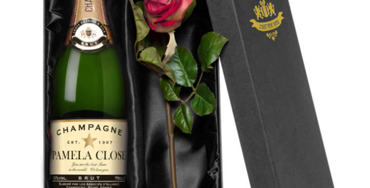 personalised champagne and silk rose