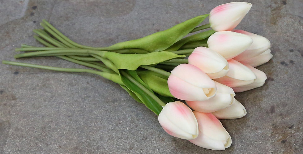 Bunch of artificial flower tulips white with pink blush