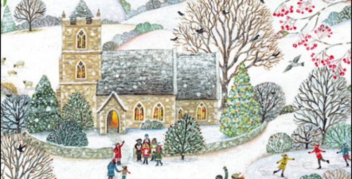 chrostmas card pack featuring church and village scene in snow