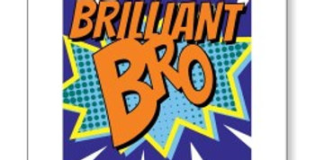 Birthday card for brother Marvel style cartoon burst with Brilliant Bro writing