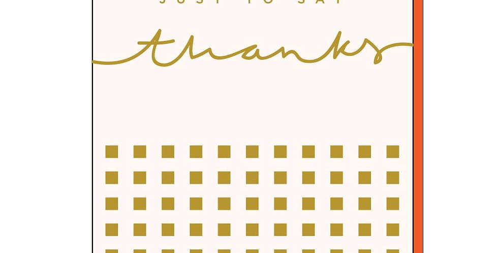 Thank You card, cream background with mini gold square pattern and gold just to say thanks to top