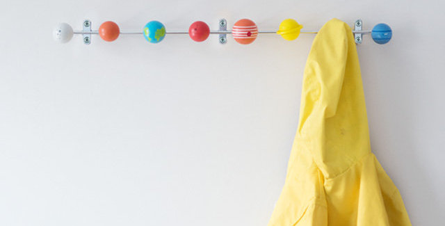 coat hook for kids room featuring the solar system planets