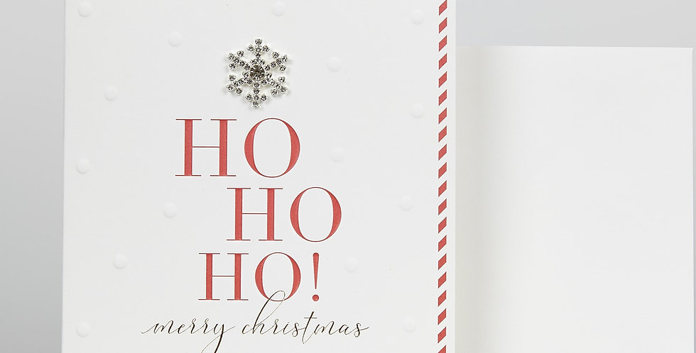 christmas card white with red dotted pattern around border, a diamante star & wording ho ho ho merry christmas