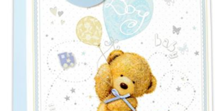 New baby boy gift bag with cute teddy bear , blue balloons, kites and bunting